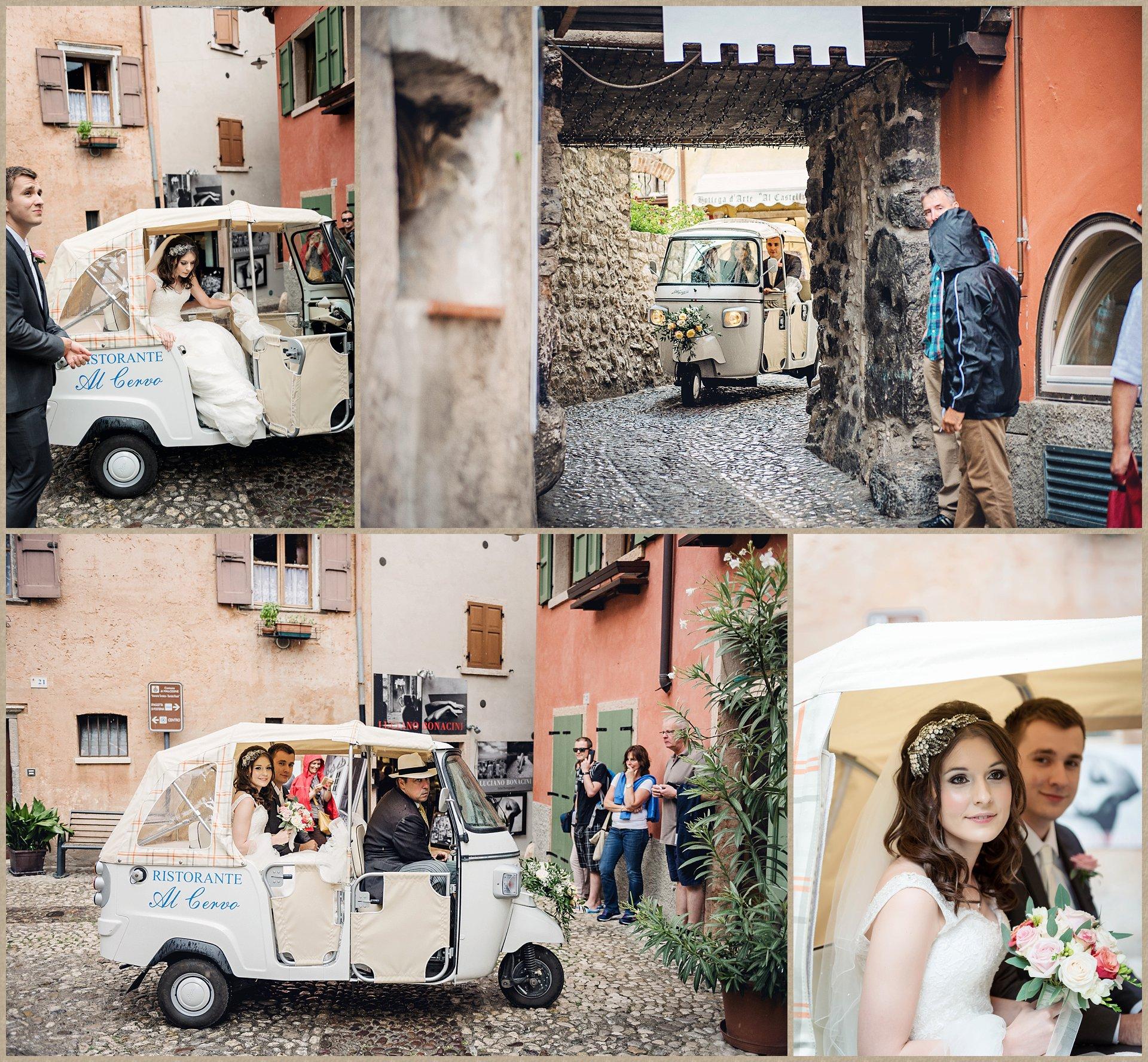 Bride arrives for Malcesine Castle wedding with tuk tuk