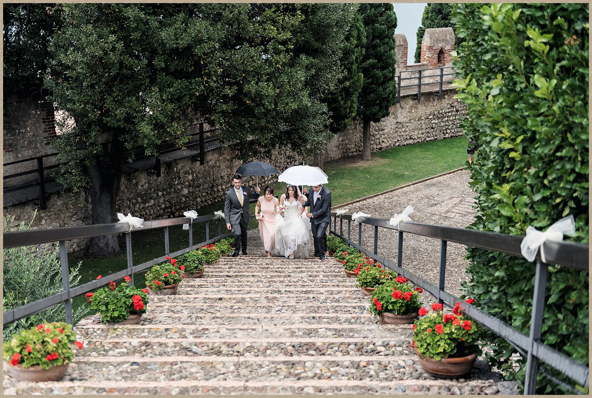 Malcesine castle wedding - steps up to castle ceremony