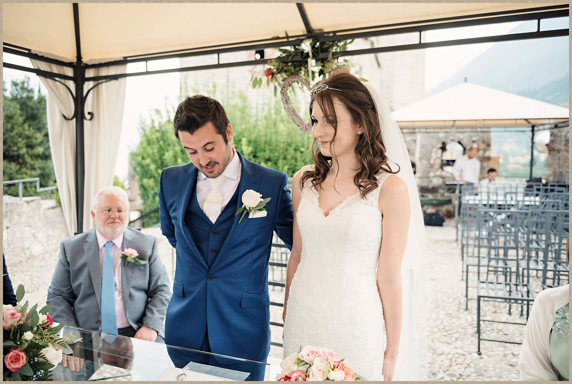 Bride and groom - Malcesine Castle wedding