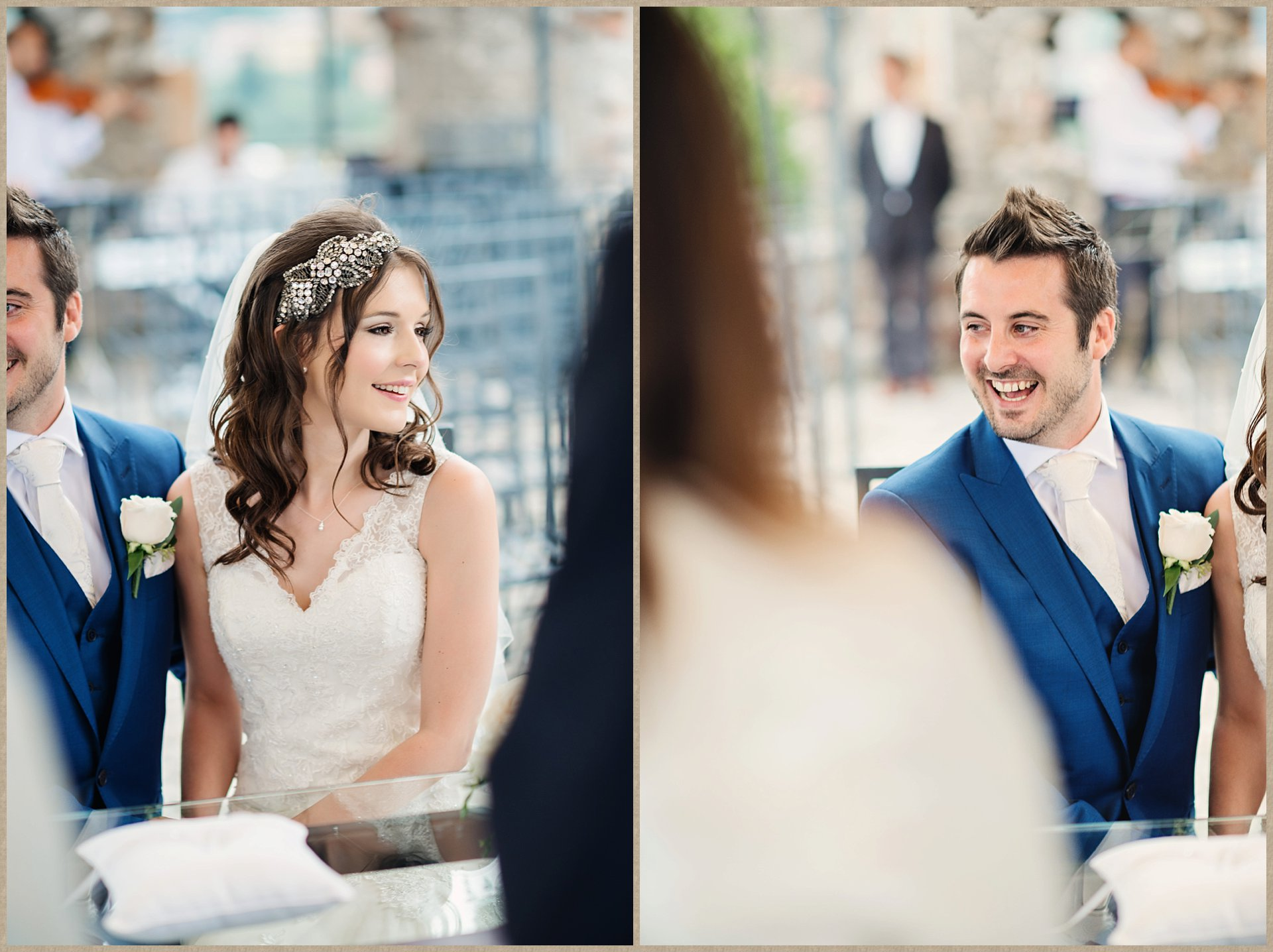 Laughing bride and groom at rainy Malcesine Castle Wedding