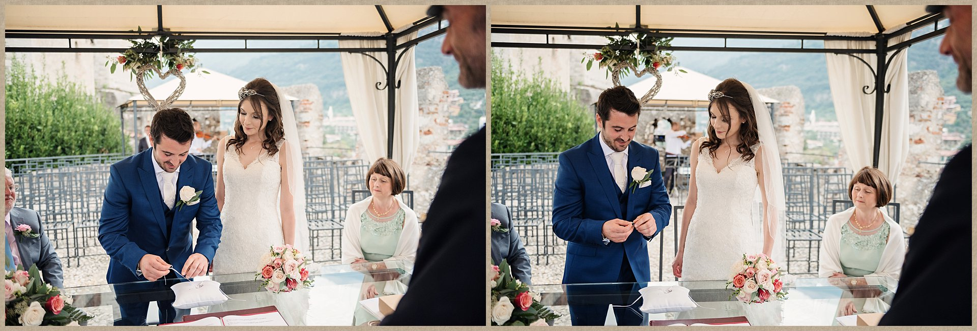 exchanging of the rings - Malcesine Castle Wedding