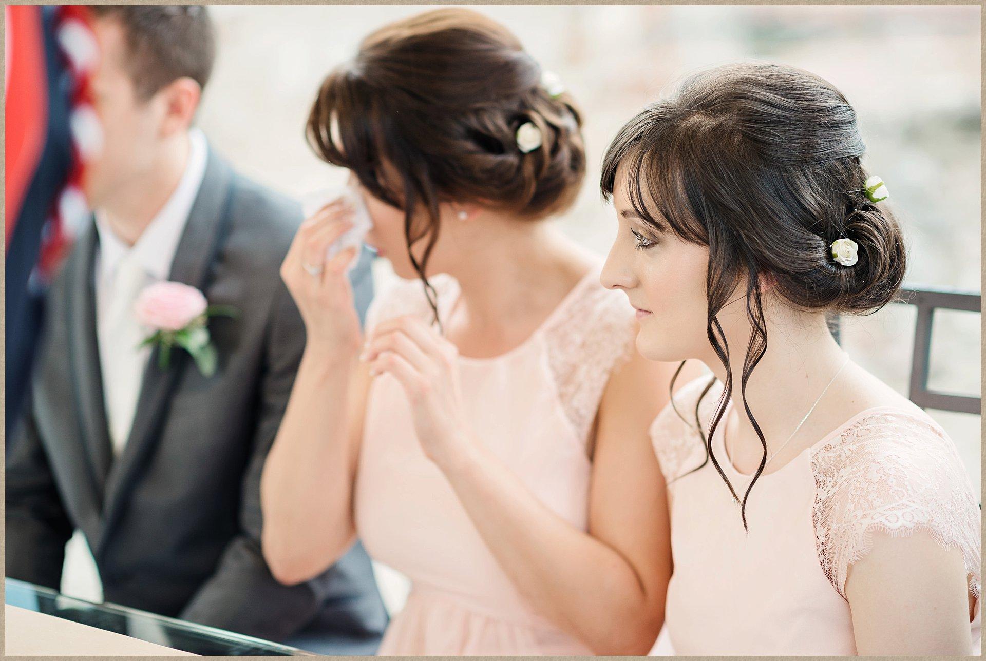 emotional bridesmaids - Malcesine Castle Wedding