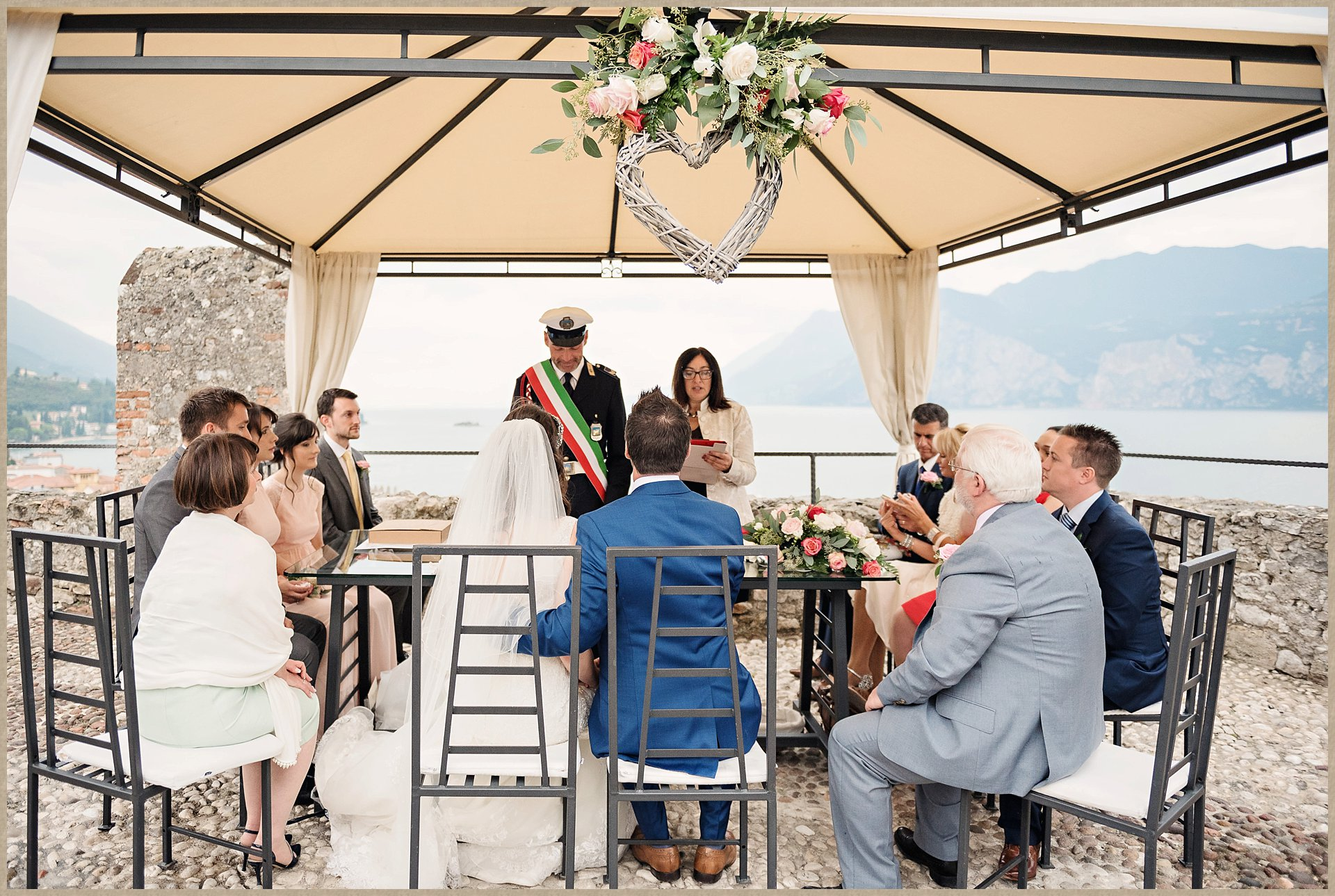 Malcesine Castle wedding with view