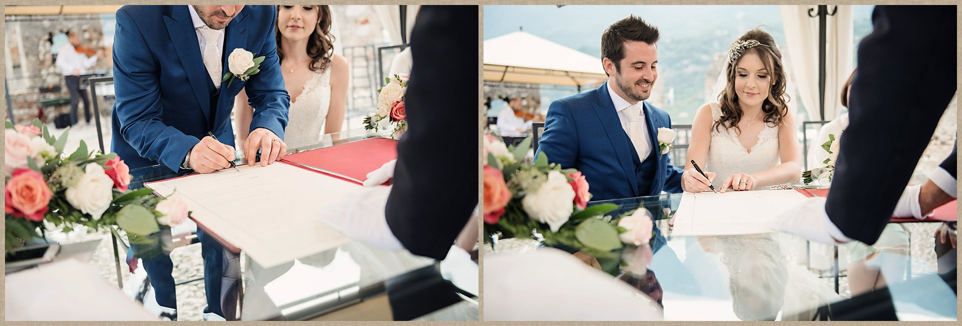 signing the register - Malcesine Castle Wedding